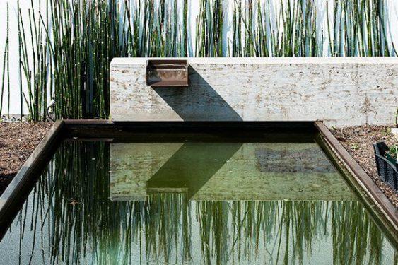 Schwimmteich mit kleinem Wasserfall » Braun Gartenform
